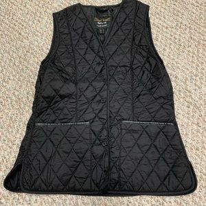 Barbour Land Rover Black Quilted Vest Sz US 10